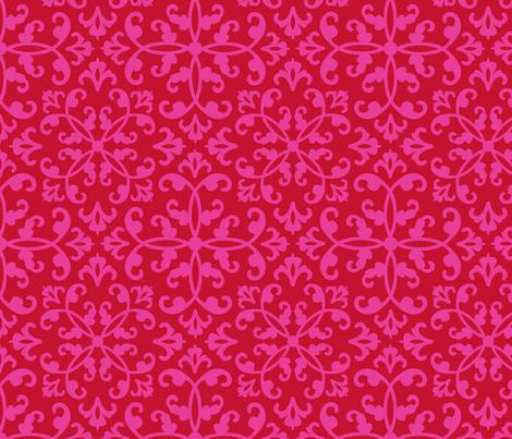 Contessa Damask - Scarlet Blush fabric by pixeldust on Spoonflower - custom fabric