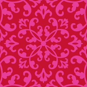 Contessa Damask - Scarlet Blush