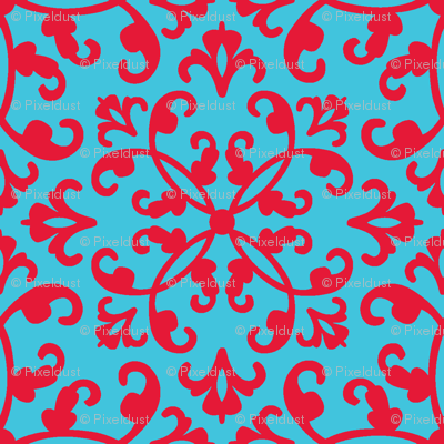 Contessa Damask - Red on Blue