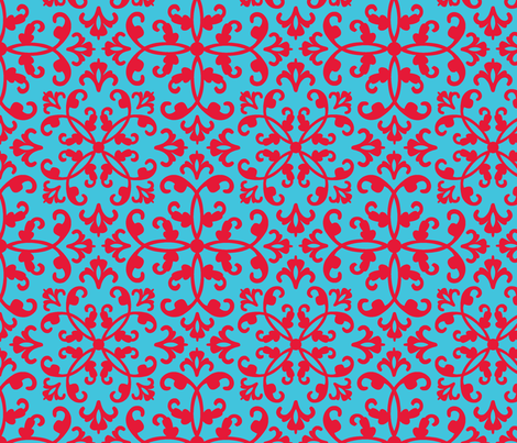 Contessa Damask - Red on Blue fabric by pixeldust on Spoonflower - custom fabric