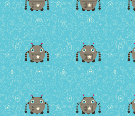 Solo Robot in the Garden fabric by jackieatweelife on Spoonflower - custom fabric