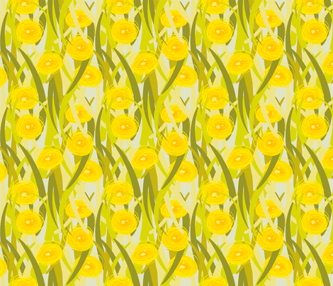 Lawn Posies - Dandelions - Blue fabric by anntuck on Spoonflower - custom fabric