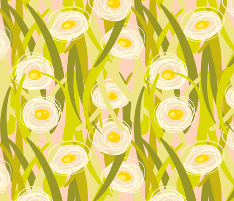 Lawn Posies Bold - Camomile -Pink fabric by anntuck on Spoonflower - custom fabric