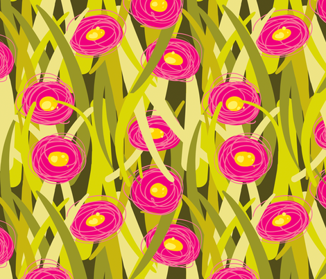 Lawn Posies Bold - English Daisies - Olive fabric by anntuck on Spoonflower - custom fabric