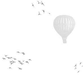 Ballons and birds large simplified