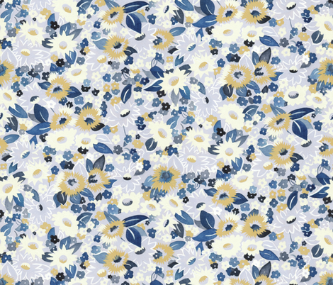 Daisies blue fabric by ashland_house_designs on Spoonflower - custom fabric