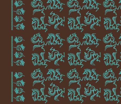 Batik-horses-linen54in-double-border fabric by mina on Spoonflower - custom fabric