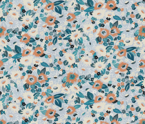 Daisies rust fabric by ashland_house_designs on Spoonflower - custom fabric