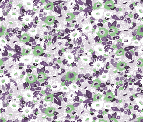 Daisies purple fabric by ashland_house_designs on Spoonflower - custom fabric