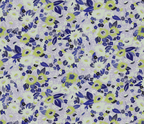 Daisies green fabric by ashland_house_designs on Spoonflower - custom fabric