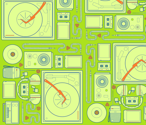 Stereophonic Lime fabric by thirdhalfstudios on Spoonflower - custom fabric