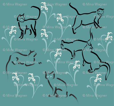 Cats in garden-fabric3-MINA-GREEN