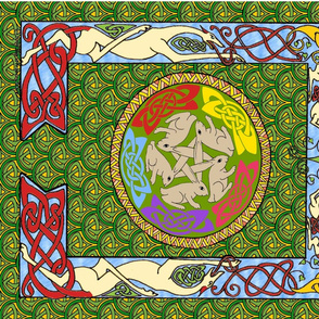 dog & rabbits celtic quilt