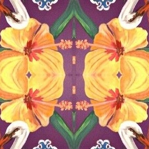 Stork with Flowers