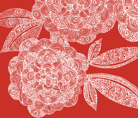 Dahlias in red fabric by valentinaharper on Spoonflower - custom fabric