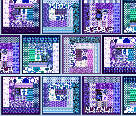 Cheater Log Cabin Quilt - Monsters, Robots and Bikes! - Blues and Purples fabric by jesseesuem on Spoonflower - custom fabric