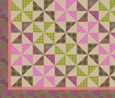 I Heart Daisies cheater quilt panel fabric by sarahb on Spoonflower - custom fabric