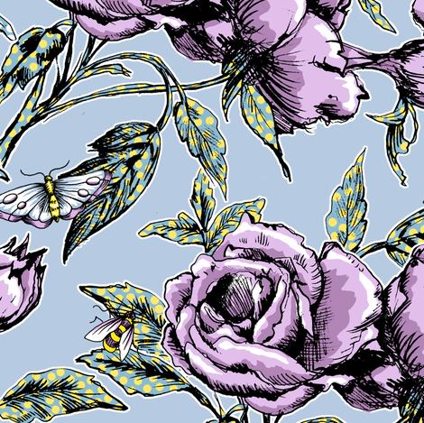 Summer Rose Garden fabric by pattysloniger on Spoonflower - custom fabric
