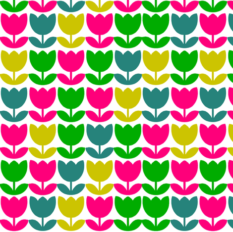 Tulip_Repeat_Bright fabric by aliceapple on Spoonflower - custom fabric
