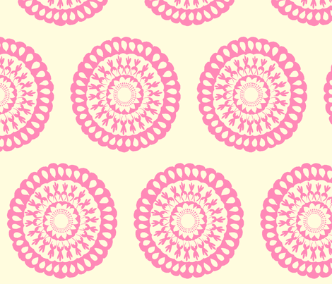 Pink Signature Medallion fabric by crimsonpear on Spoonflower - custom fabric