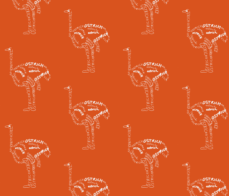 Ostrich Calligram fabric by blue_jacaranda on Spoonflower - custom fabric
