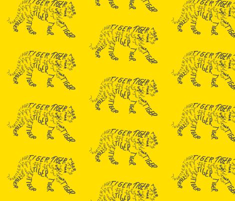Tiger Calligram fabric by blue_jacaranda on Spoonflower - custom fabric