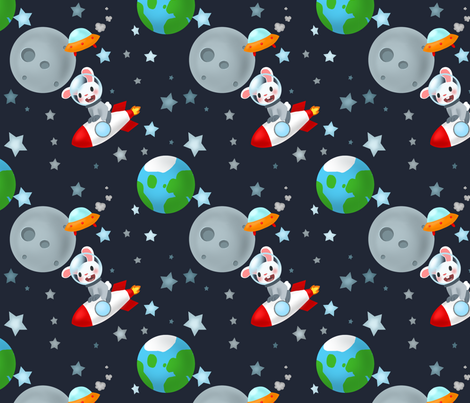 Rabbits like Rocket Travel fabric by the_little_one on Spoonflower - custom fabric