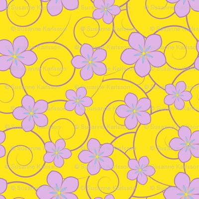 purple flowers yellow swirls