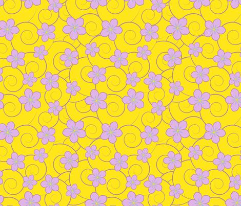 purple flowers yellow swirls fabric by suziedesign on Spoonflower - custom fabric