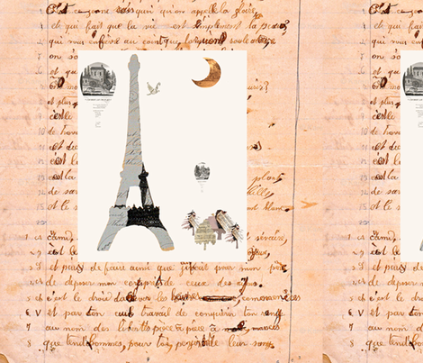 French Homework Dreams Romance fabric by karenharveycox on Spoonflower - custom fabric