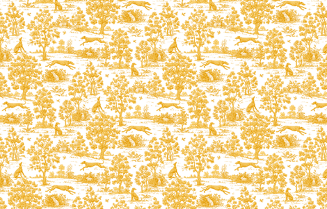 Gold Greyhound Toile ©2010 by Jane Walker fabric by artbyjanewalker on Spoonflower - custom fabric