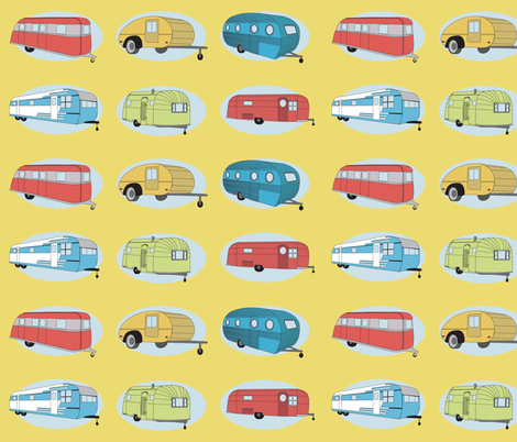Retro Travel in Yellow  fabric by bella_modiste on Spoonflower - custom fabric