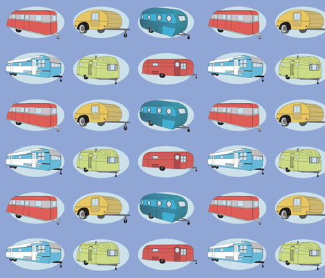 Retro Travel in Periwinkle  fabric by bella_modiste on Spoonflower - custom fabric