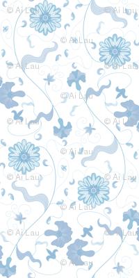 Floral Sprays - Blue on White