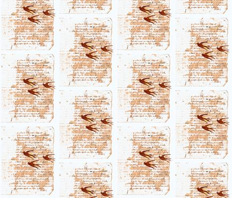 Anita's French Homework with birds fabric by karenharveycox on Spoonflower - custom fabric