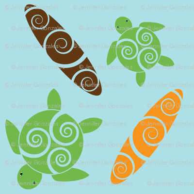 Honu & Surfboards with Spiral Design