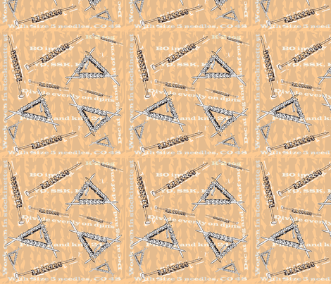 K 2 together peach needles fabric by grammak on Spoonflower - custom fabric