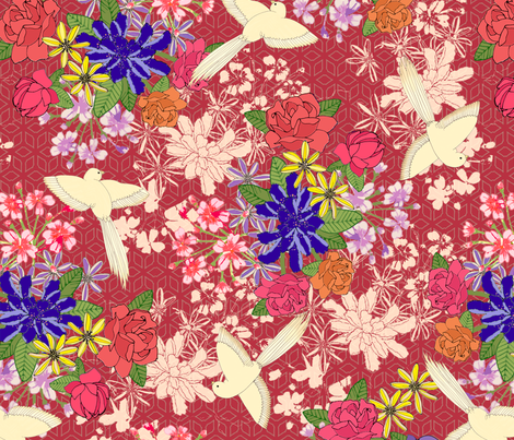 Japanese Birds In Red fabric by lydia_meiying on Spoonflower - custom fabric