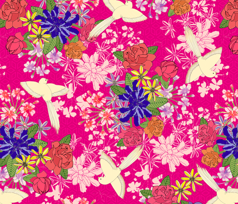 Japanese Birds In Pink fabric by lydia_meiying on Spoonflower - custom fabric
