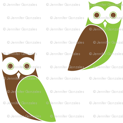 Modern Owl Friends - White Background