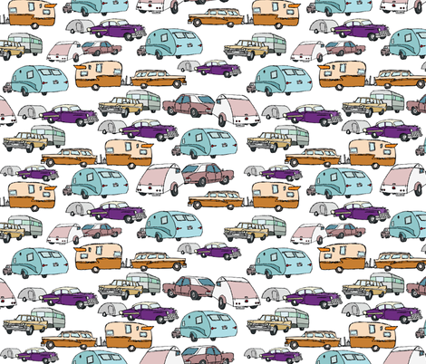 retro vacationing campers fabric by babysisterrae on Spoonflower - custom fabric