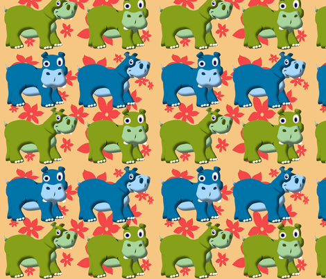 Retro Funny Hippos fabric by yuleane on Spoonflower - custom fabric