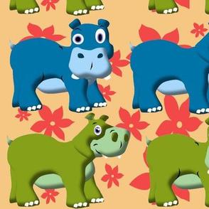 Retro Funny Hippos