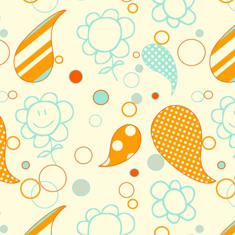 Happy Tombot Flowers - Summer Kaboom! - © PinkSodaPop 4ComputerHeaven.com fabric by pinksodapop on Spoonflower - custom fabric