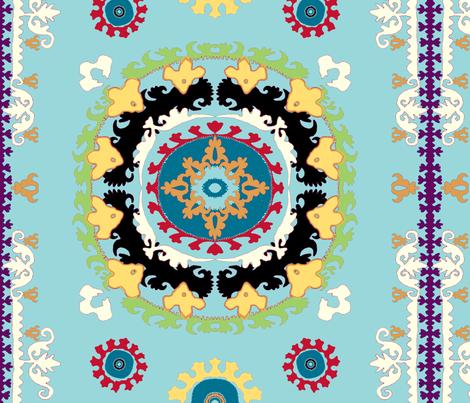 suzani1 blu fabric by femmenouveau on Spoonflower - custom fabric