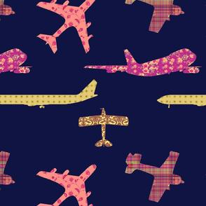 NAVY_Orange_Planes_Fat_Quarter