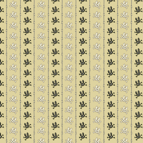 Bunny Goth Bone Stripe Green fabric by voodoorabbit on Spoonflower - custom fabric