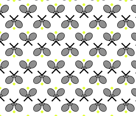 Tennis Racquets Black Fabric Freshlypieced Spoonflower