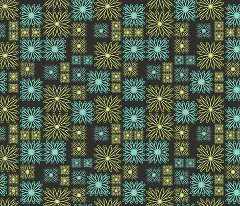 Retro line flowers fabric by suziedesign on Spoonflower - custom fabric