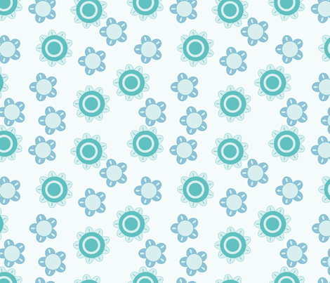 baby blue flower pattern fabric by suziedesign on Spoonflower - custom fabric